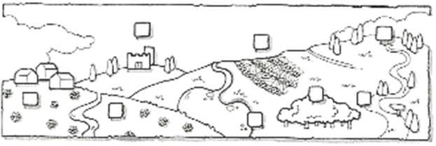 Piccolo borgo 2. bosco 3. castello 4. terrazzamento 5. cima o vetta